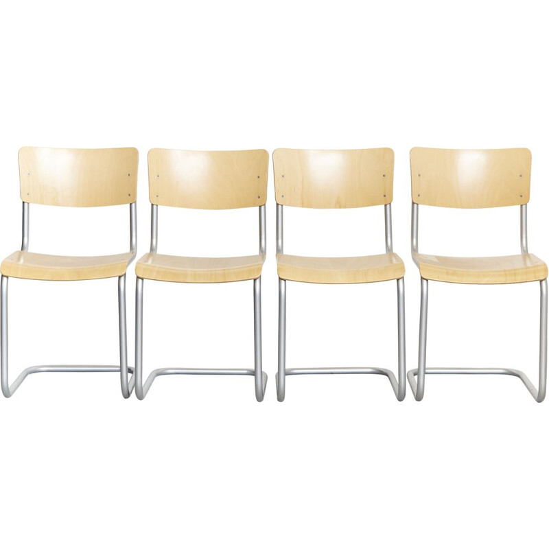 Set of 4 vintage S43 chairs by Mart Stam for Thonet, 1930