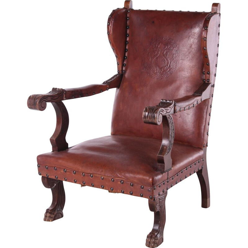 Vintage leather Castle armchair with shell relief, Germany 1950s