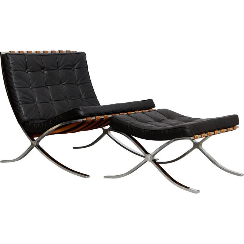 Vintage model Mr90 Barcelona lounge chair & ottoman by Ludwig Mies Van Der Rohe for Knoll