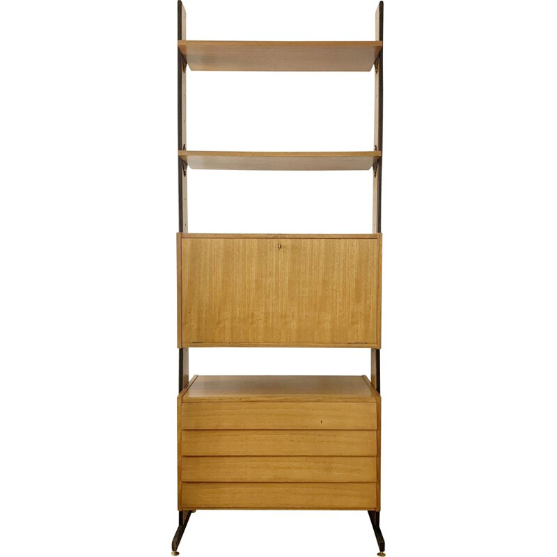 Mid-century wooden drawers wall unit, Italy 1960s