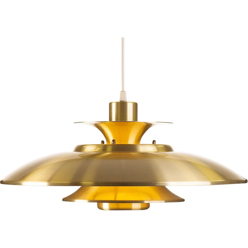 Vintage brass colored pendant lamp by Ts Belysning, Denmark