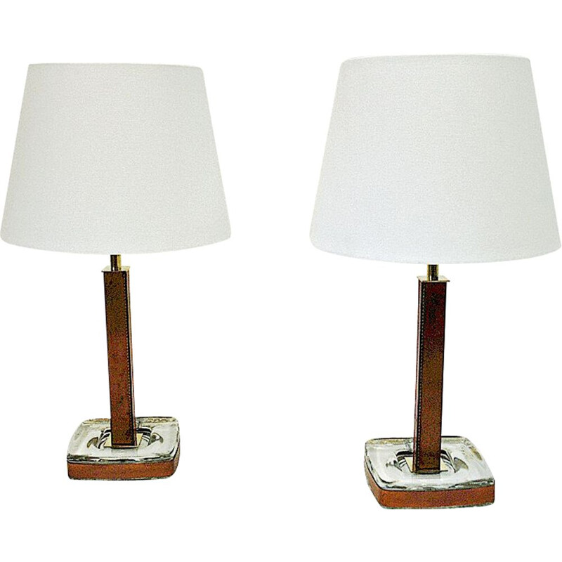 Pair of vintage Swedish leather table lamps by Uppsala Armatur, Suède 1960s