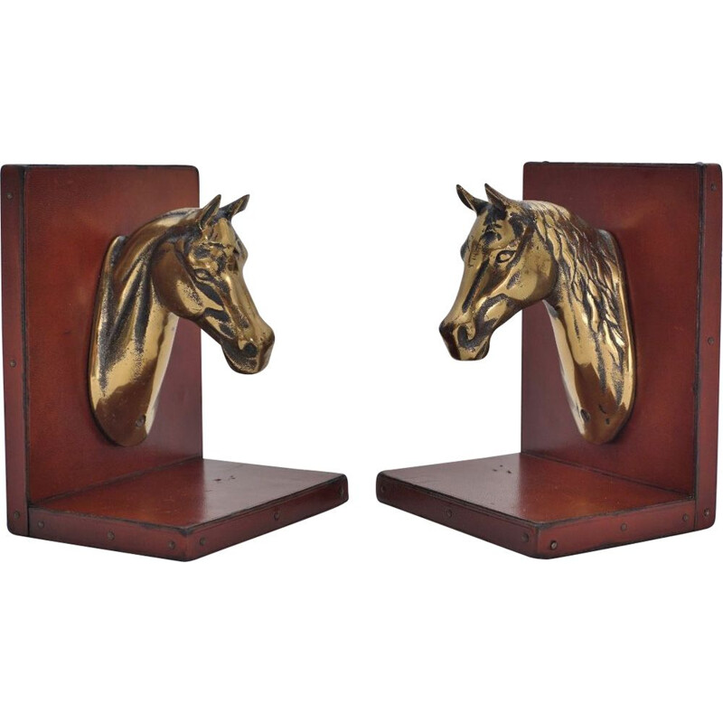 Pair of vintage French horse bookends in brass & leather, 1950s