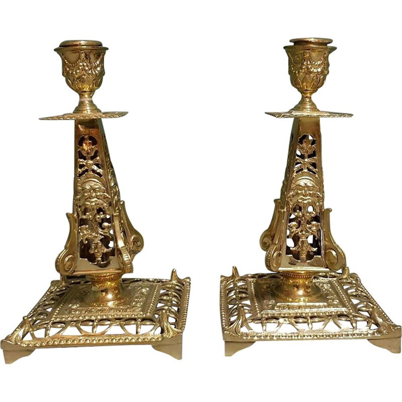 Pair of mid century French brass candlesticks