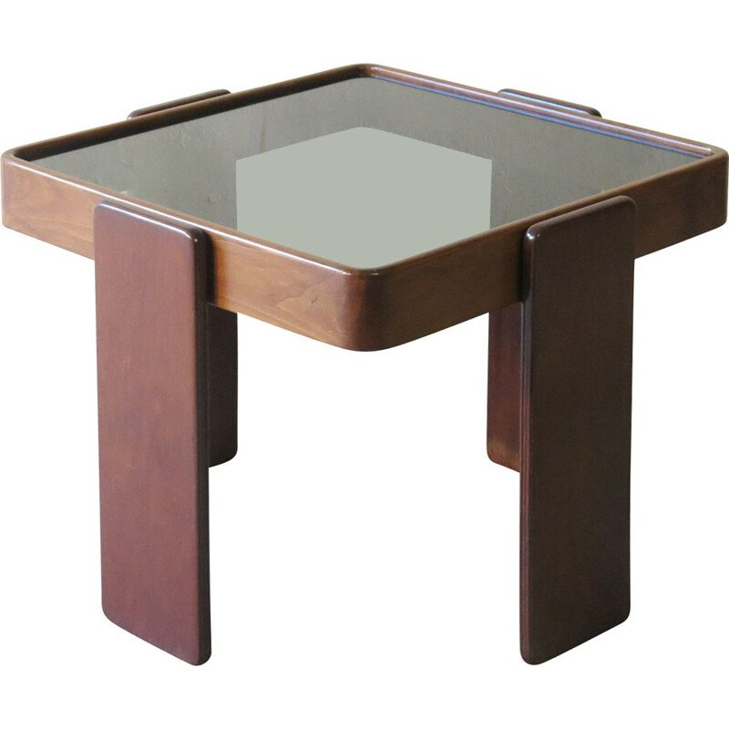 Vintage side table in dark oakwood and smoked glass by Gianfranco Frattini for Cassina, 1960