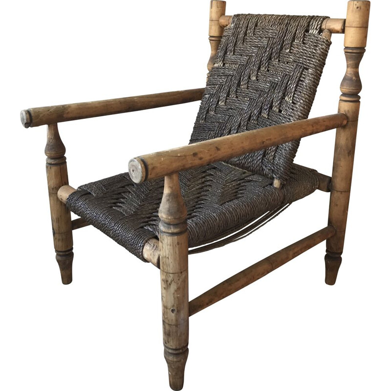 Vintage rope armchair by Audoux Minet