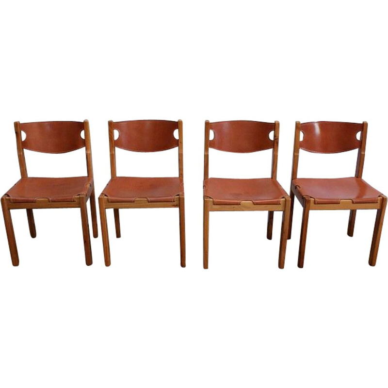 Set of 4 vintage solid elmwood and leather chairs by Maison Regain, 1960
