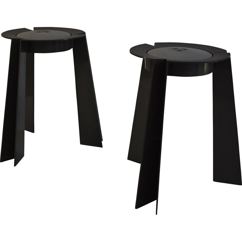 """Pair of vintage """"Trick"""" stools by Alessandro Mendini for Vanini, 1988"""