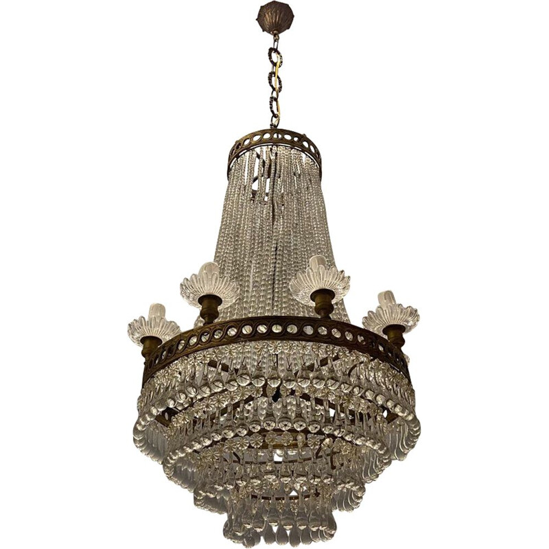 Vintage Murano glass crystal beaded chandelier, 1950s