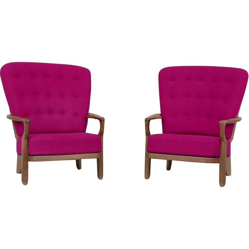"""Pair of vintage """"Romeo"""" French armchairs by Guillerme et Chambron, 1960s"""