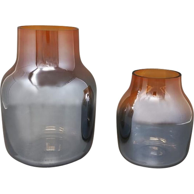 Pair of vintage orange and grey vases in Murano glass by Seguso, Italy 1970s