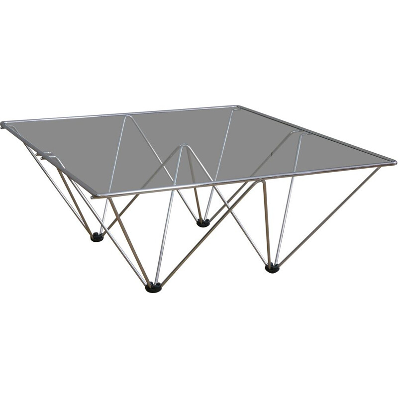 Square vintage coffee table in chrome and glass by Paolo Piva, 1980