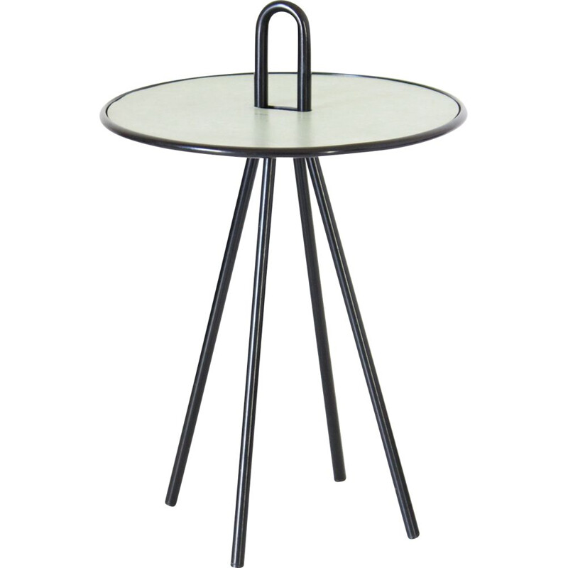 Vintage round side table with curved black iron, 1960s
