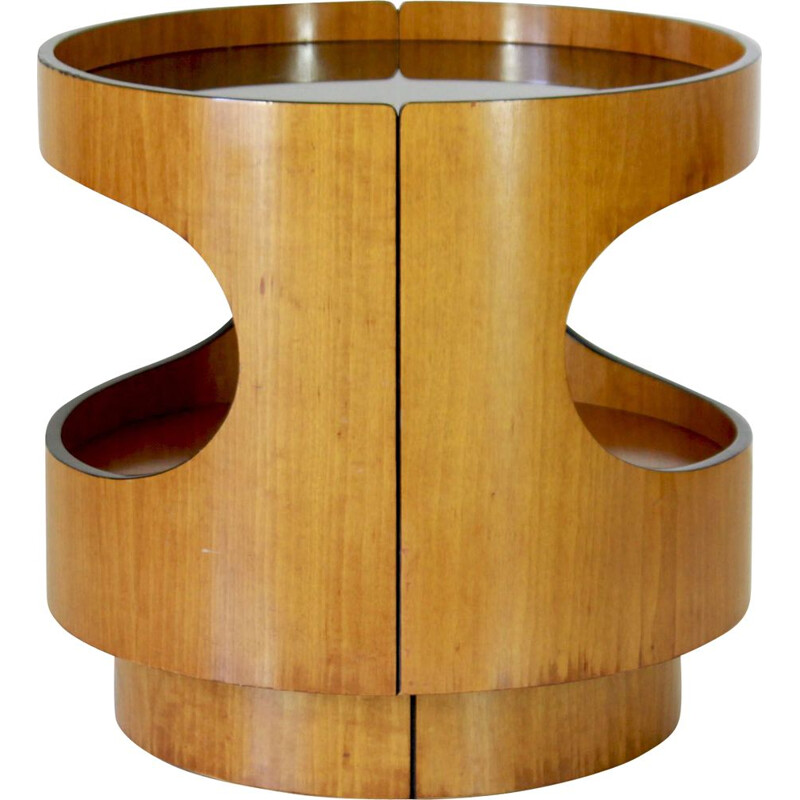 Vintage round rolling coffee table, 1970s