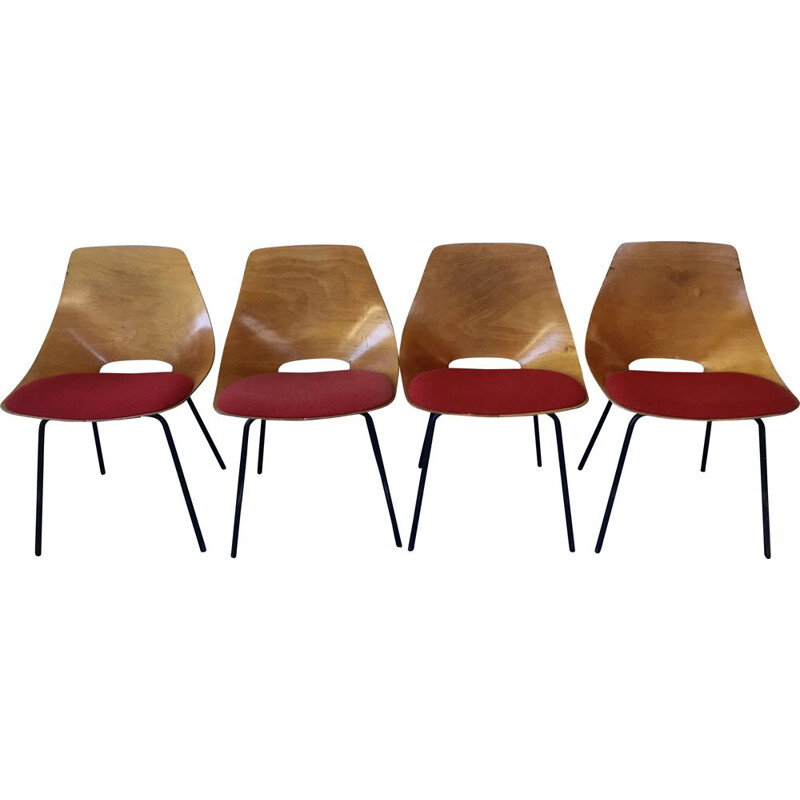 Set of 4 vintage barrel chairs by Pierre Guariche for Steiner, 1950