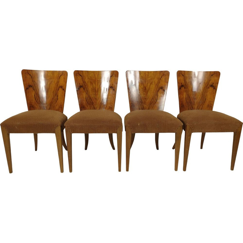 Set of 4 vintage Art Deco dining chairs by Jindřich Halabala, 1940s