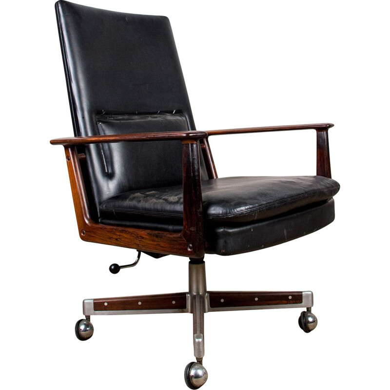 Vintage rosewood and leather office chair by Arne Vodder for Sibast, 1960