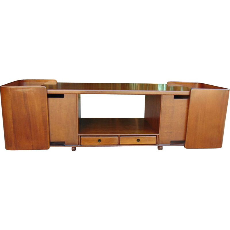Vintage walnut coffee table with removable drawers, 1970s