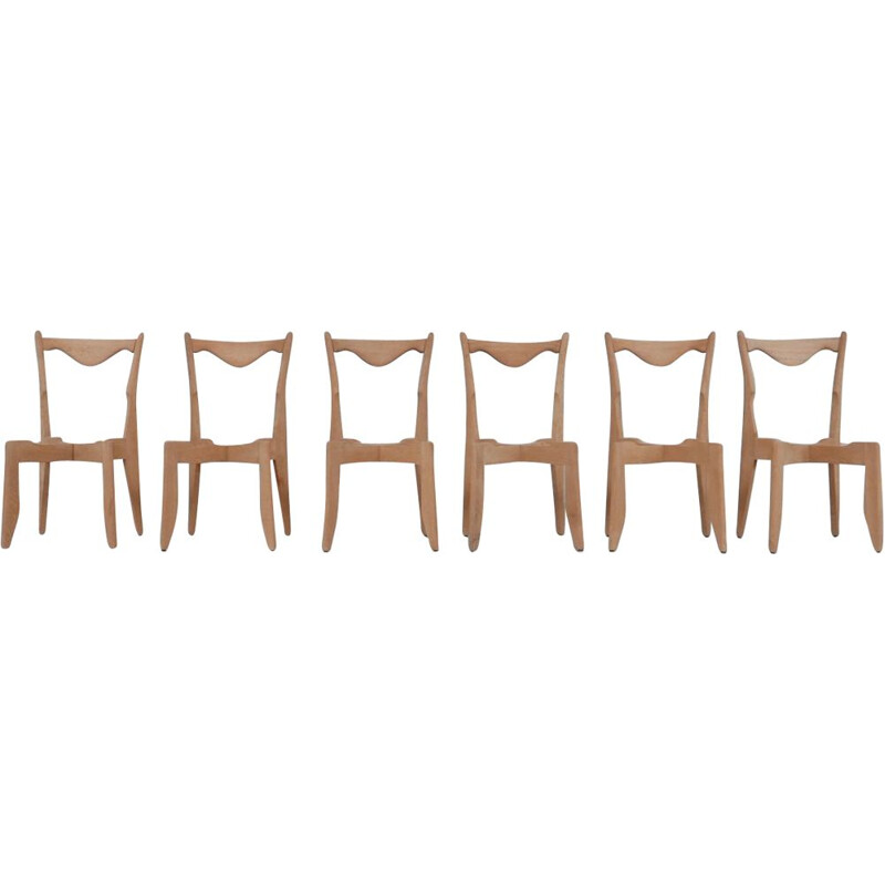 Set of 6 vintage oakwood French chairs by Guillerme et Chambron, 1960s