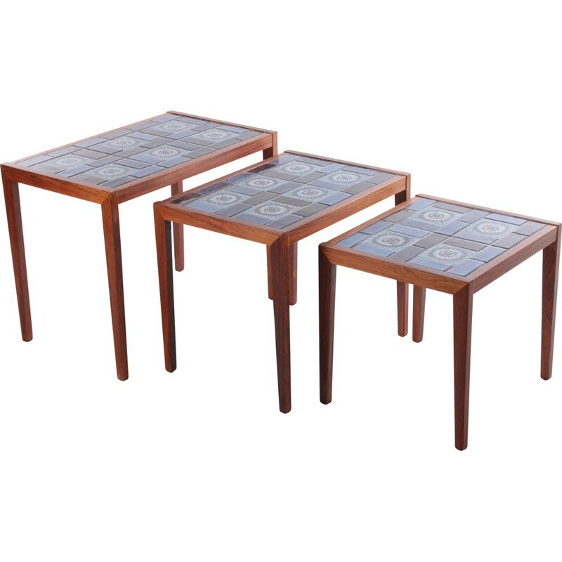 Vintage rosewood nesting tables with ceramic tabletop, Denmark 1960s