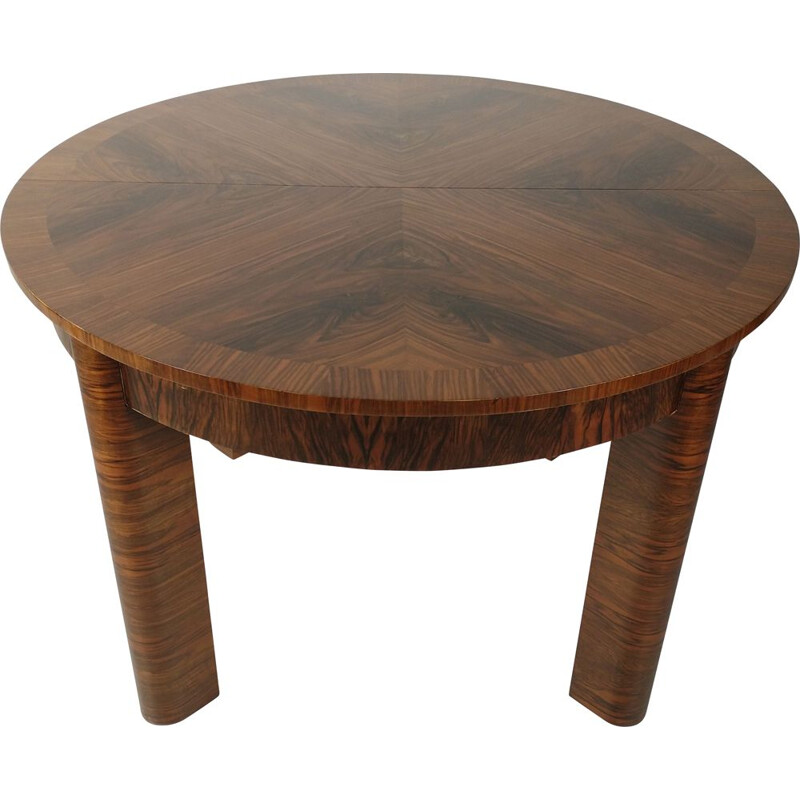 Art Deco vintage solid wood and walnut dining table, 1950s