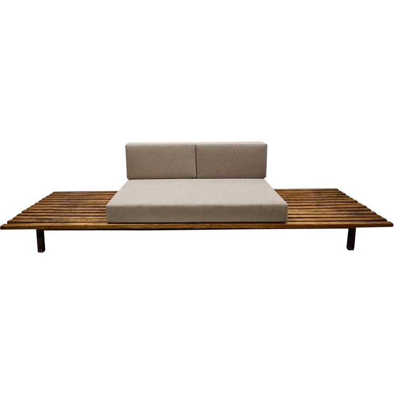 Vintage cansado bench with grey mattress and two cushions by Charlotte Perriand, 1950