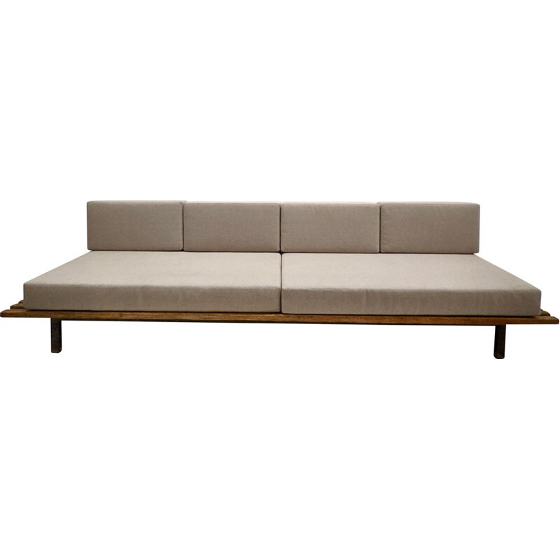 Vintage Cansado sofa with two grey mattresses and four cushions by Charlotte Perriand, 1950