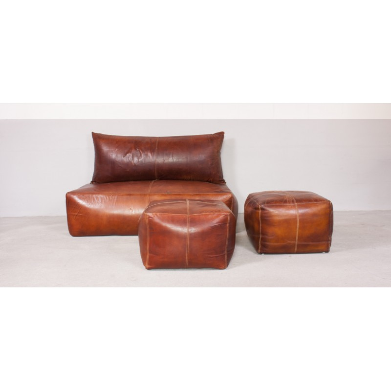Sensational Set Of Brown Leather Sofa And Footstool 1970S Gmtry Best Dining Table And Chair Ideas Images Gmtryco