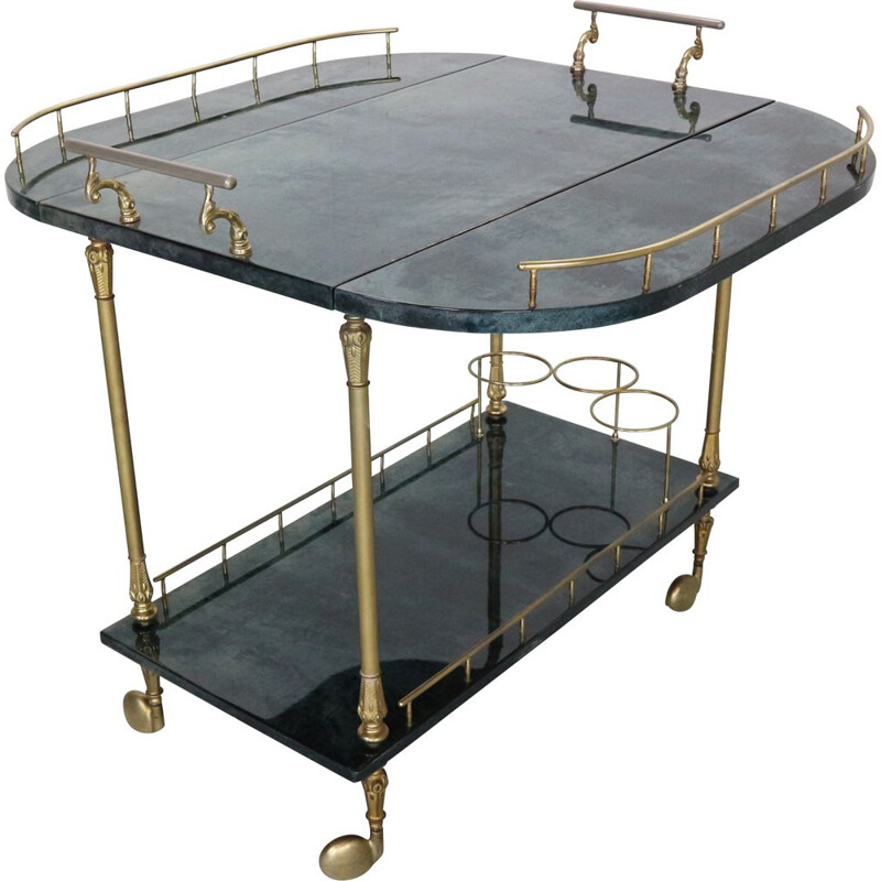 Vintage green lacquered goat skin & brass bar trolley by Aldo Tura, Italy 1950s