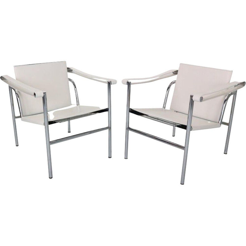 Pair of vintage white leather armchairs by Le Corbusier for Cassina, 1970s