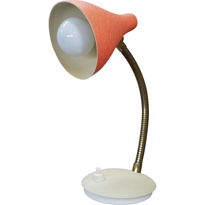 Vintage coral table lamp with gooseneck, Germany 1950s