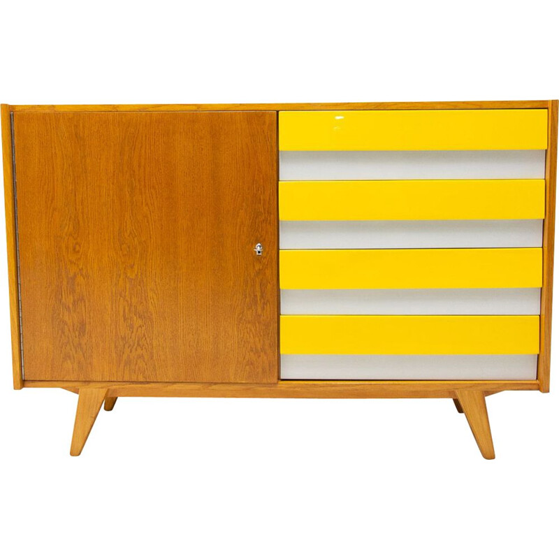 Mid century chest of drawers U-458 with drawers yellow and grey by Jiri Jiroutek, Czechoslovakia 1960s