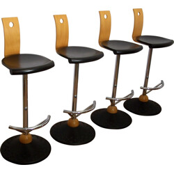 Set of 4 Mirima stools in beech and steel - 2000s
