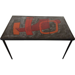 Rectangular enamelled lava coffee table, Robert & Jean CLOUTIER - 1950s