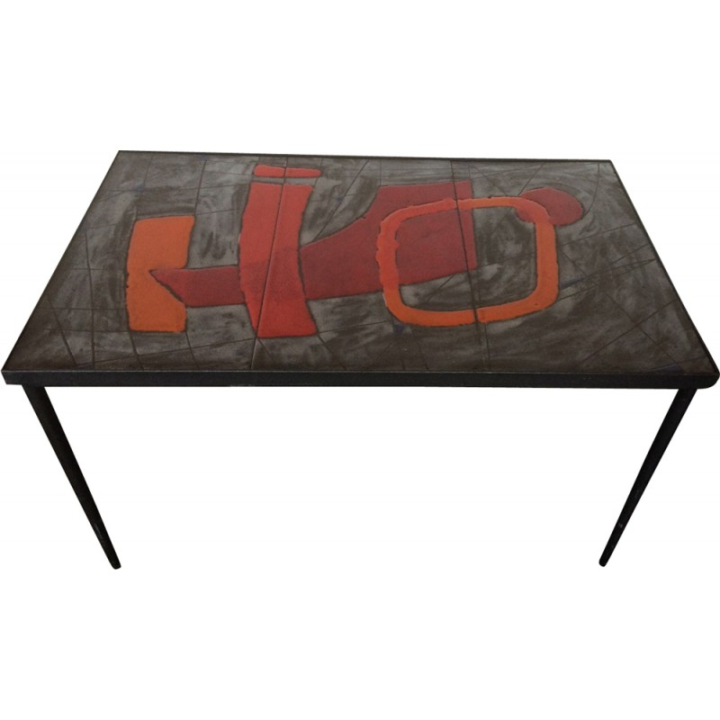 Rectangular enamelled lava coffee table, Robert & Jean CLOUTIER ...