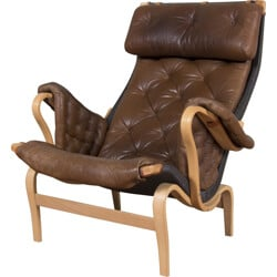 """Swedish Dux """"Pernilla"""" armchair in brown leather and wood, Bruno MATHSSON - 1960s"""