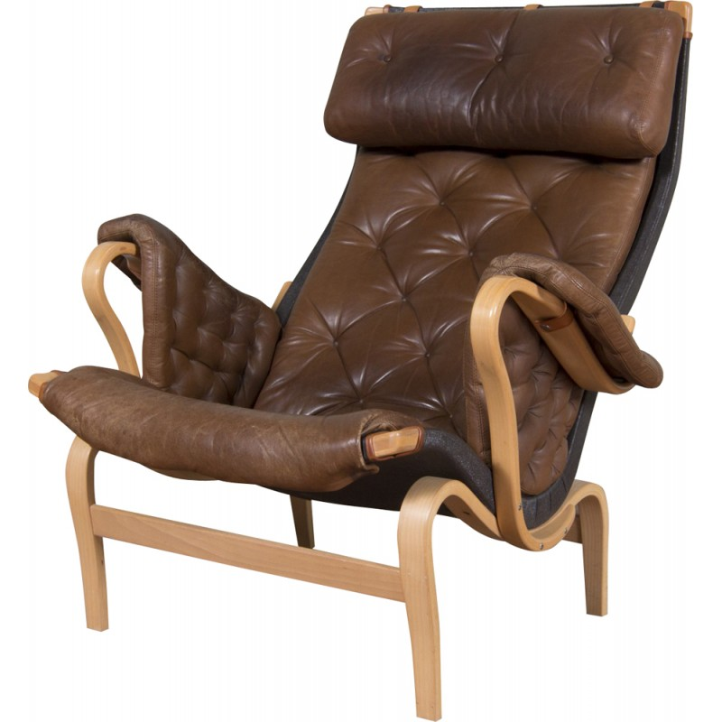 Swedish Dux Pernilla Armchair In Brown Leather And Wood Bruno Mathsson 1960s