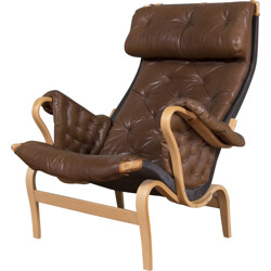 """Swedish """"Pernilla"""" Dux armchair in brown leather and beech, Bruno MATHSSON - 1960s"""
