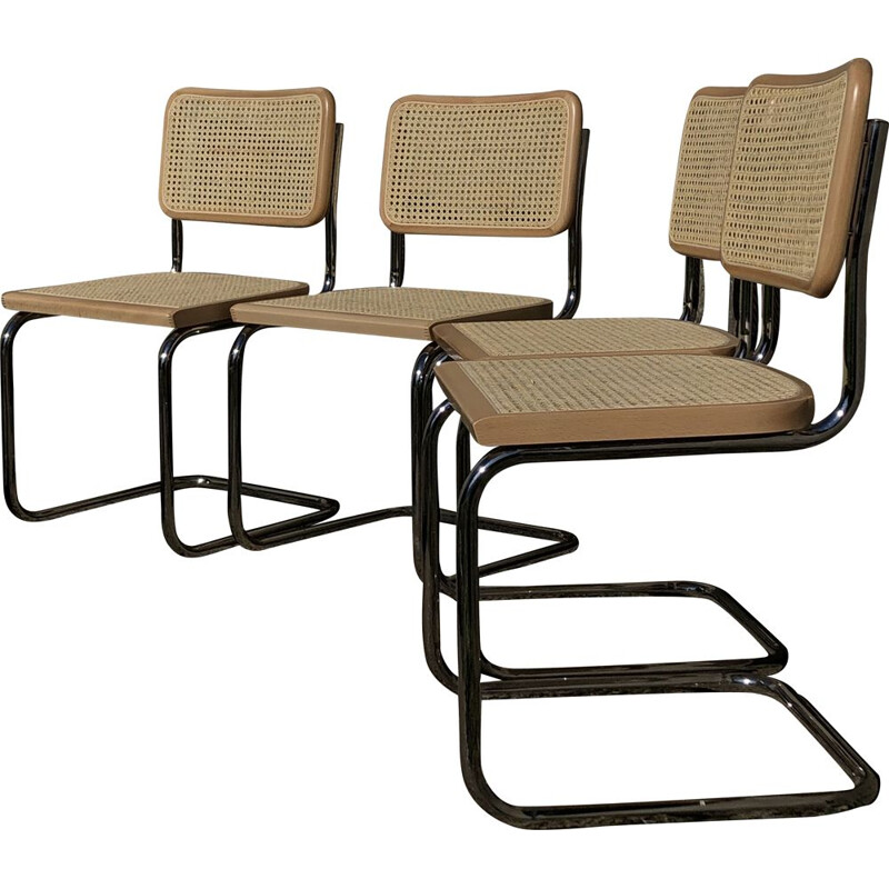 Set of 4 vintage b32 cesca beechwood chairs by Marcel Breuer, Italy