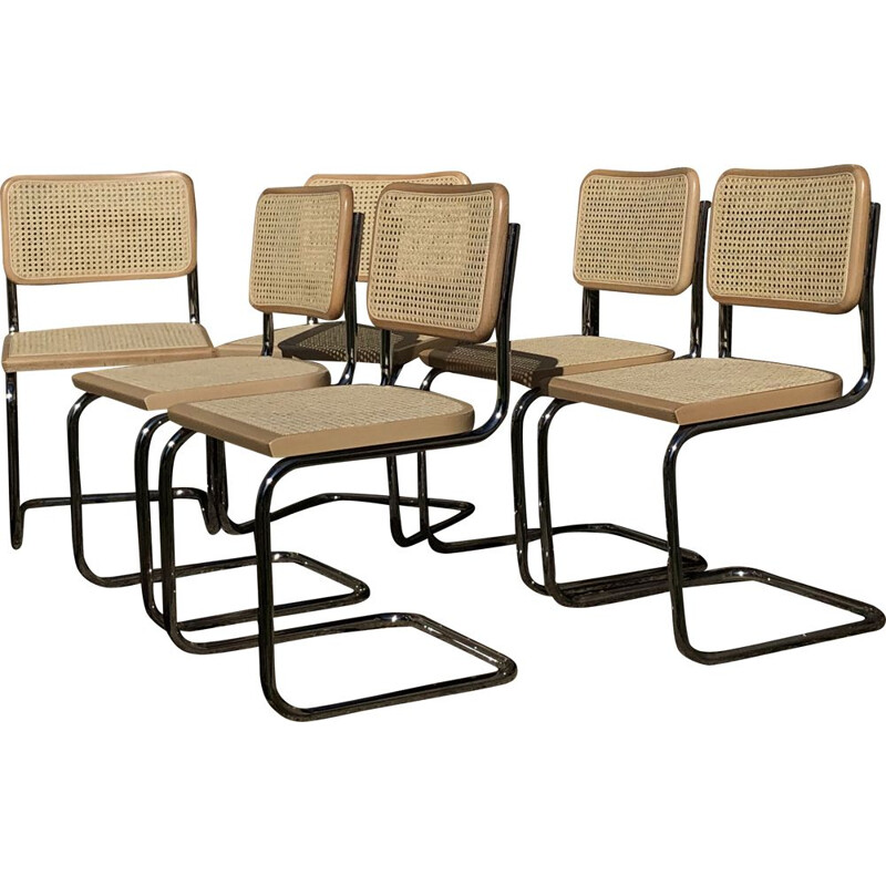 Set of 6 vintage b32 cesca beechwood chairs by Marcel Breuer, Italy