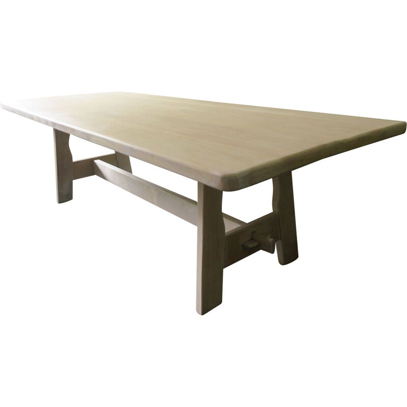 Mid century limed solid oakwood dining table, 1940-1950s