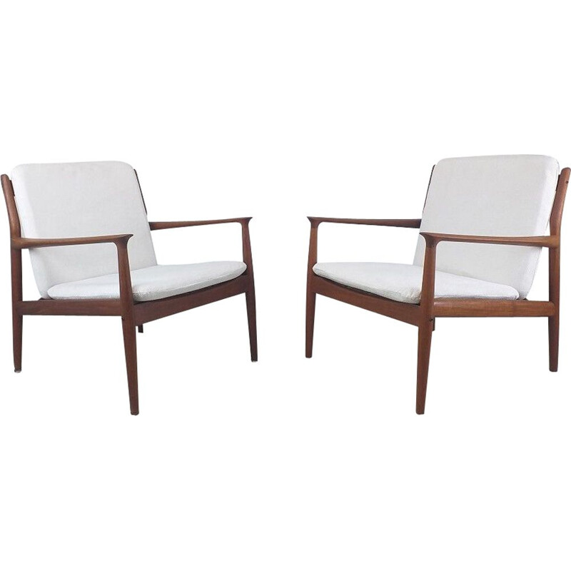 Pair of vintage scandinavian solid teak and fabric armchairs by S.A. Eriksen, 1960