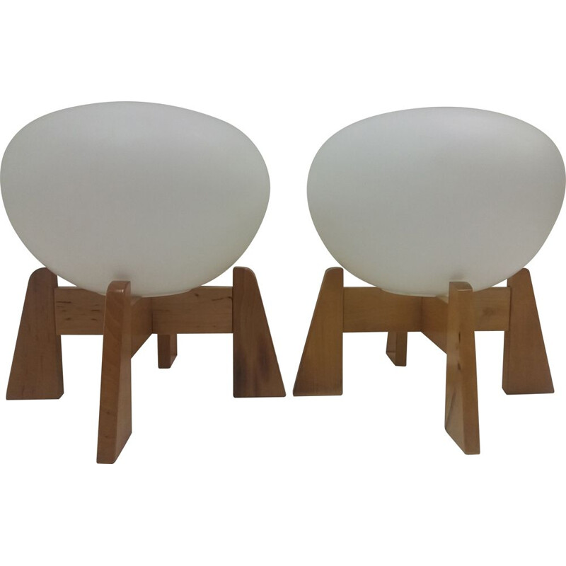 Pair of vintage opal glass and wood lamps for Uluv, Czechoslovakia 1960s