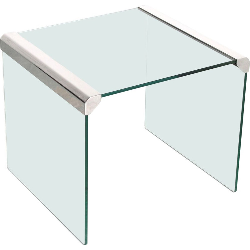 Vintage square clear molded glass side table by Pierangelo Gallotti for Gallotti & Radice, Italy 1970s