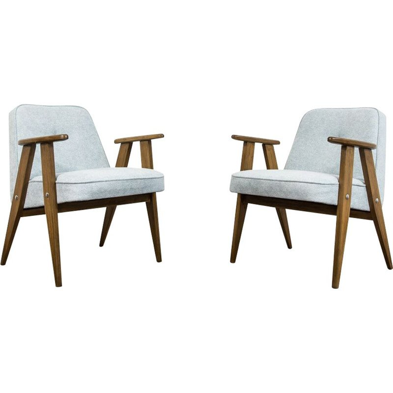Pair of vintage 366 armchairs by Józef Chierowski, 1960s