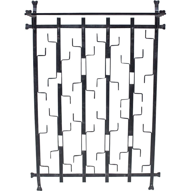 Vintage geometric hand forged wrought iron wall coat rack, Germany 1960s