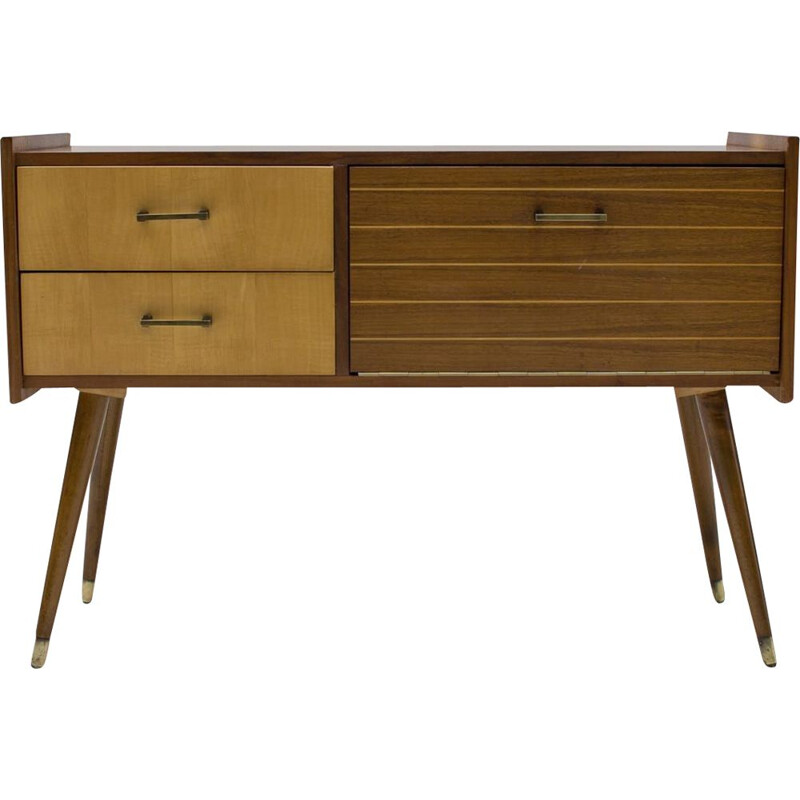 Strip vintage sideboard with two drawers