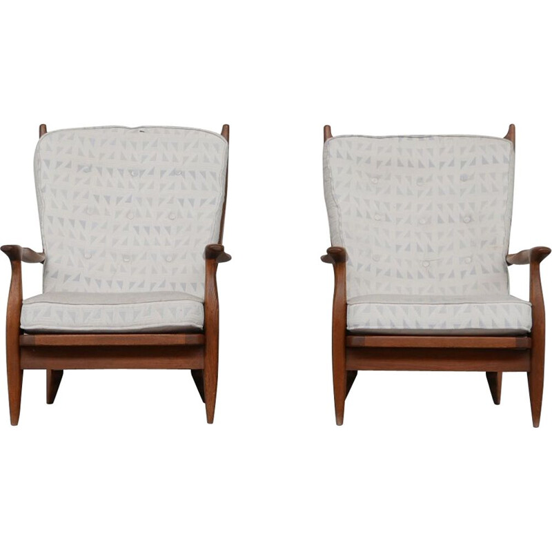 Pair of Edouard vintage oakwood armchairs by Guillerme and Chambron, France 1960s
