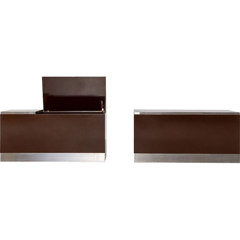 Pair of modernist vintage formica TV stand by Willy Rizzo, 1970s