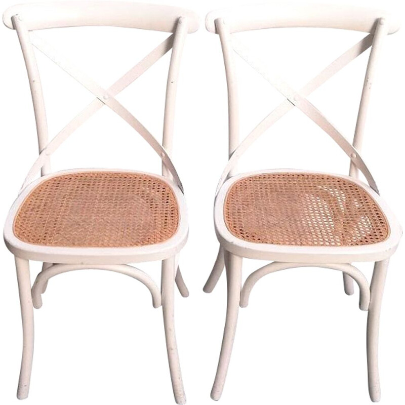 Vintage chair Ton 150 in beech wood and wicker